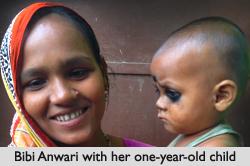 Bibi Anwari with her one-year-old child