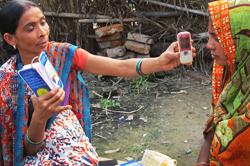A community health worker using Mobile Kunji